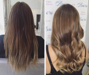 Before and After Brunette Balyage