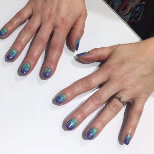 Greeny Blue Ombre Nails