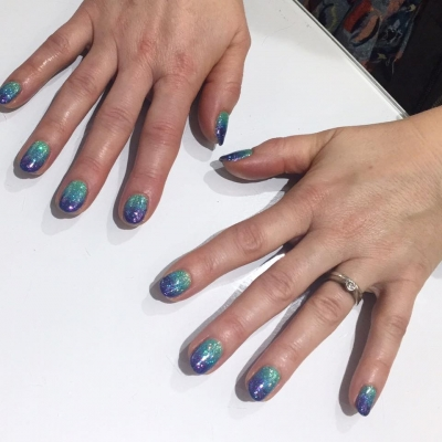 Greeny Blue Ombre Nails