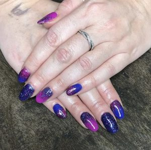 Crimson and Blue Nails