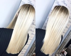 Ice blonde baby lights with root shadow
